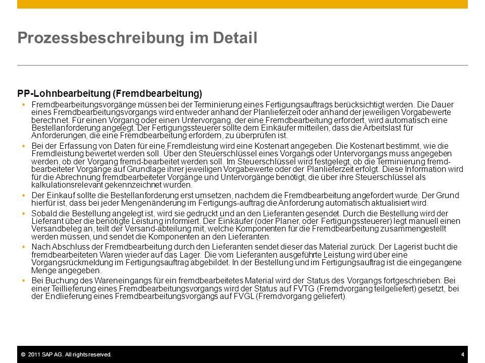 ©2011 SAP AG. All rights reserved.4 Prozessbeschreibung im Detail PP-Lohnbearbeitung (Fremdbearbeitung) Fremdbearbeitungsvorgänge müssen bei der Termi