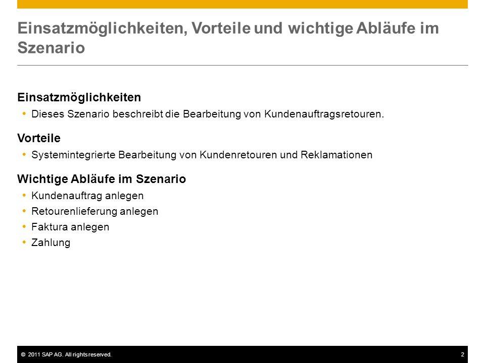©2011 SAP AG. All rights reserved.2 Einsatzmöglichkeiten, Vorteile und wichtige Abläufe im Szenario Einsatzmöglichkeiten Dieses Szenario beschreibt di