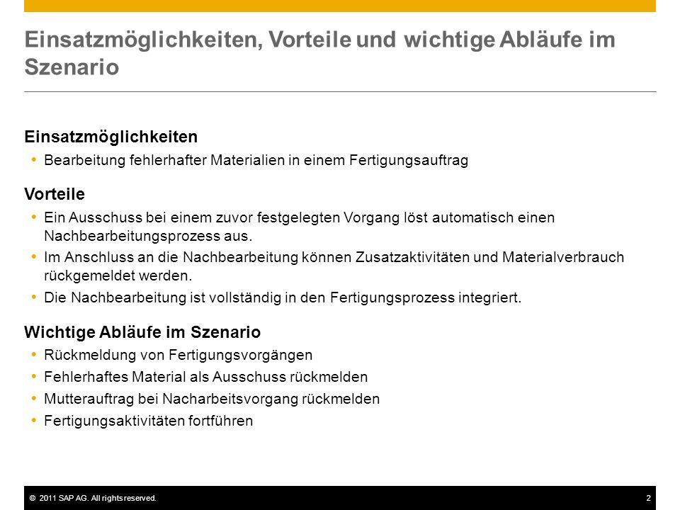 ©2011 SAP AG. All rights reserved.2 Einsatzmöglichkeiten, Vorteile und wichtige Abläufe im Szenario Einsatzmöglichkeiten Bearbeitung fehlerhafter Mate