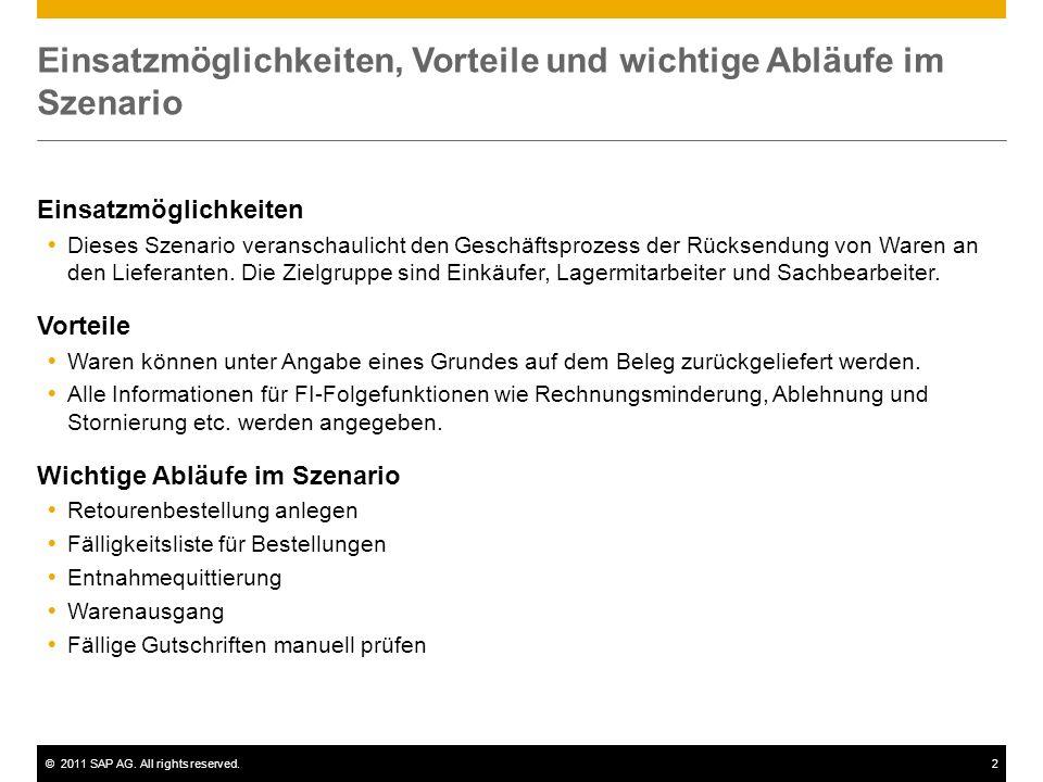©2011 SAP AG. All rights reserved.2 Einsatzmöglichkeiten, Vorteile und wichtige Abläufe im Szenario Einsatzmöglichkeiten Dieses Szenario veranschaulic