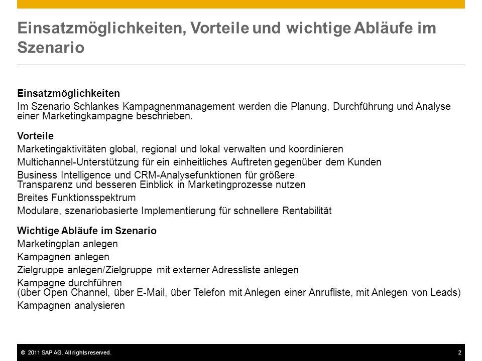 ©2011 SAP AG. All rights reserved.2 Einsatzmöglichkeiten, Vorteile und wichtige Abläufe im Szenario Einsatzmöglichkeiten Im Szenario Schlankes Kampagn