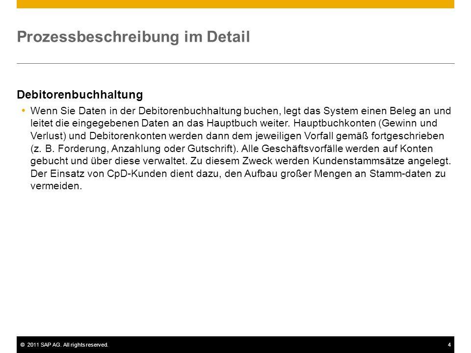 ©2011 SAP AG. All rights reserved.4 Prozessbeschreibung im Detail Debitorenbuchhaltung Wenn Sie Daten in der Debitorenbuchhaltung buchen, legt das Sys