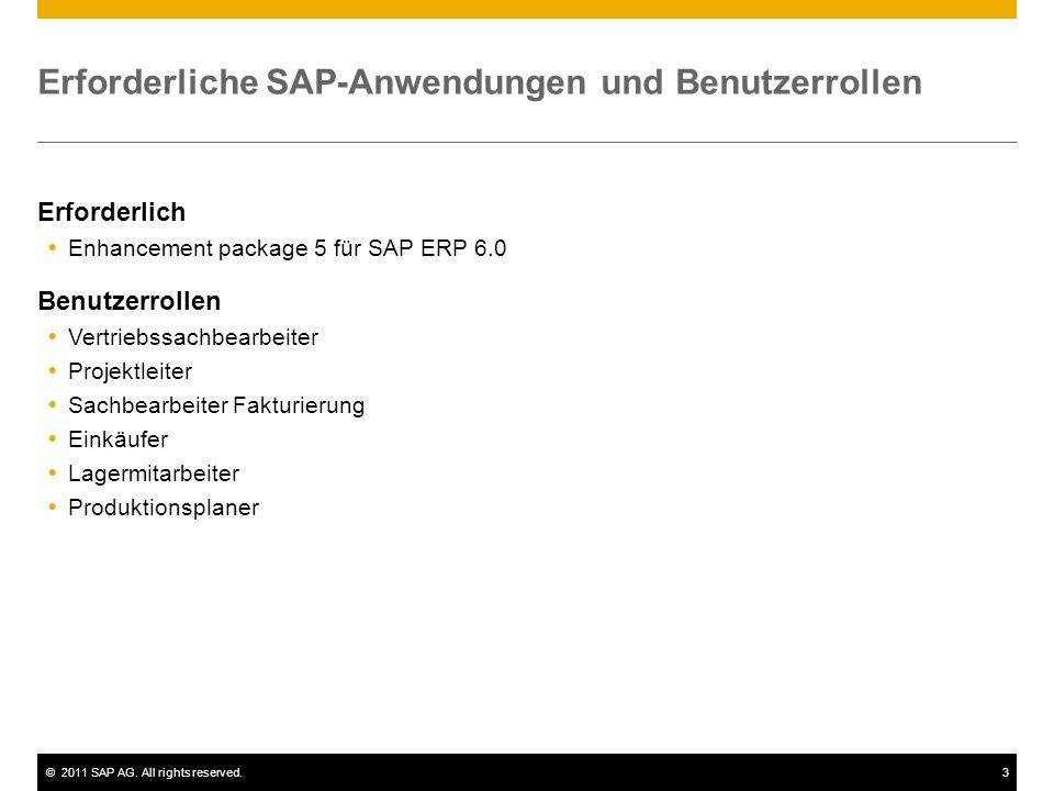 ©2011 SAP AG. All rights reserved.3 Erforderliche SAP-Anwendungen und Benutzerrollen Erforderlich Enhancement package 5 für SAP ERP 6.0 Benutzerrollen