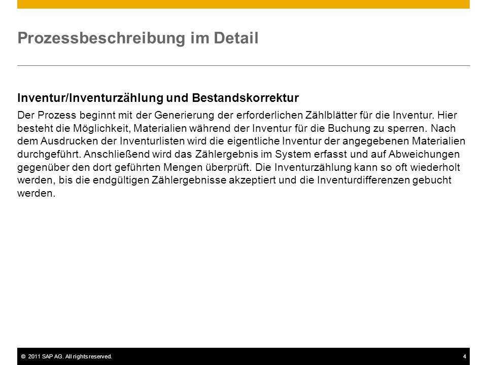 ©2011 SAP AG. All rights reserved.4 Prozessbeschreibung im Detail Inventur/Inventurzählung und Bestandskorrektur Der Prozess beginnt mit der Generieru