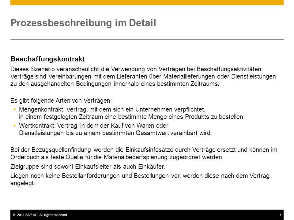 ©2011 SAP AG. All rights reserved.4 Prozessbeschreibung im Detail Beschaffungskontrakt Dieses Szenario veranschaulicht die Verwendung von Verträgen be