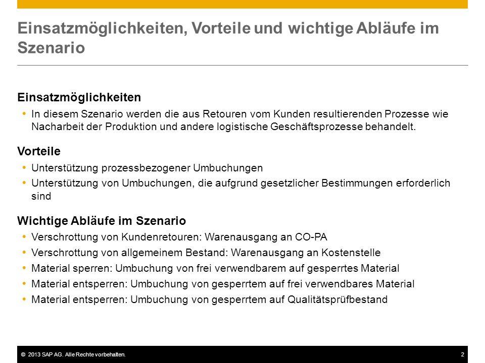 ©2013 SAP AG. Alle Rechte vorbehalten.2 Einsatzmöglichkeiten, Vorteile und wichtige Abläufe im Szenario Einsatzmöglichkeiten In diesem Szenario werden