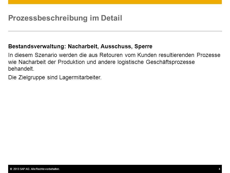 ©2013 SAP AG. Alle Rechte vorbehalten.4 Prozessbeschreibung im Detail Bestandsverwaltung: Nacharbeit, Ausschuss, Sperre In diesem Szenario werden die