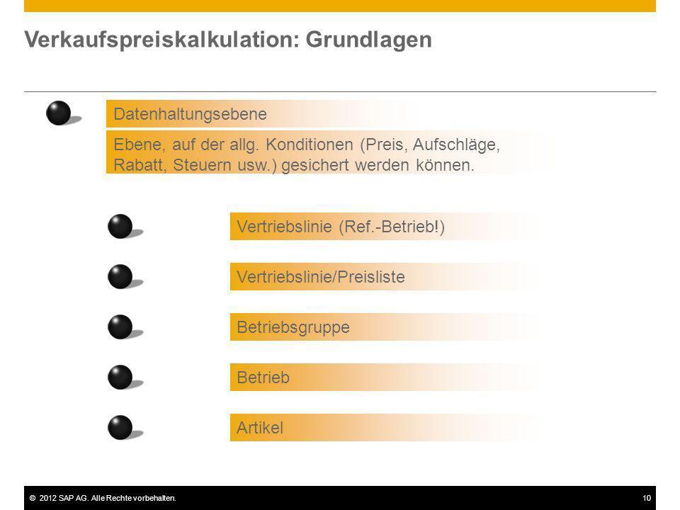 ©2012 SAP AG. Alle Rechte vorbehalten.10 Verkaufspreiskalkulation: Grundlagen Datenhaltungsebene Ebene, auf der allg. Konditionen (Preis, Aufschläge,