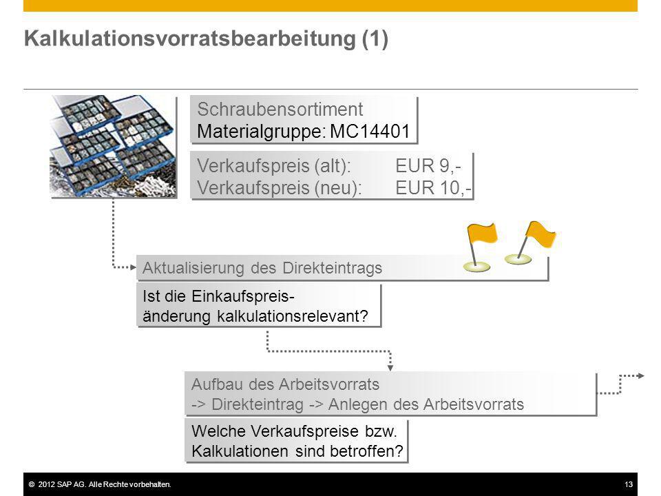 ©2012 SAP AG. Alle Rechte vorbehalten.13 Kalkulationsvorratsbearbeitung (1) Schraubensortiment Materialgruppe: MC14401 Schraubensortiment Materialgrup