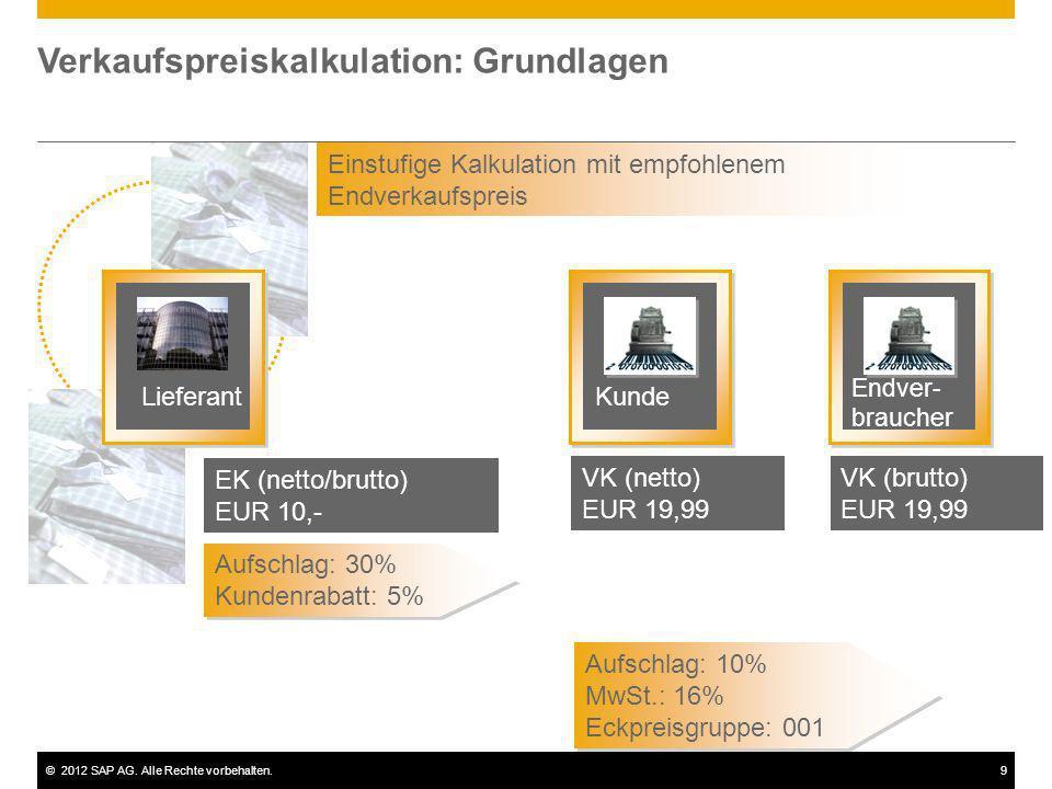 ©2012 SAP AG. Alle Rechte vorbehalten.9 Verkaufspreiskalkulation: Grundlagen Lieferant Einstufige Kalkulation mit empfohlenem Endverkaufspreis EK (net