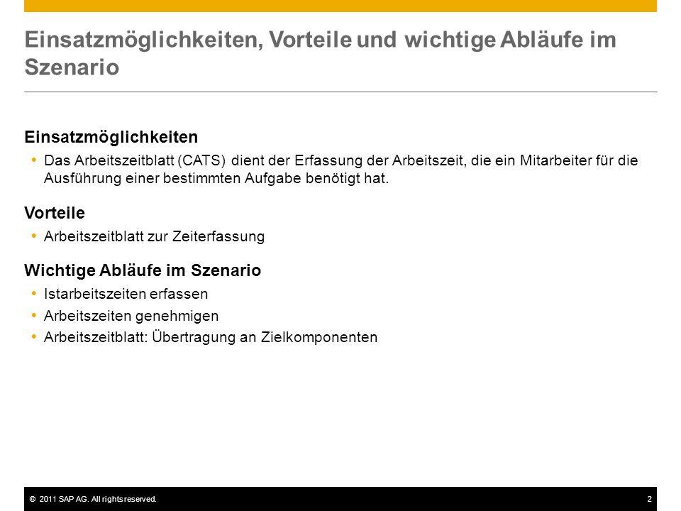 ©2011 SAP AG. All rights reserved.2 Einsatzmöglichkeiten, Vorteile und wichtige Abläufe im Szenario Einsatzmöglichkeiten Das Arbeitszeitblatt (CATS) d