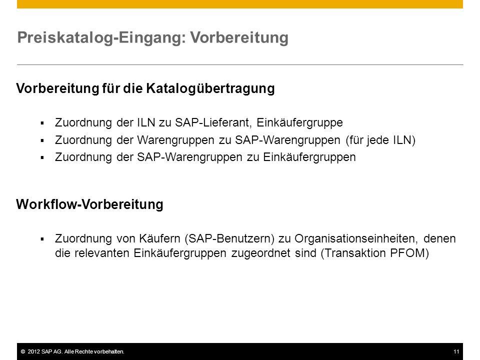 ©2012 SAP AG. Alle Rechte vorbehalten.11 Preiskatalog-Eingang: Vorbereitung Vorbereitung für die Katalogübertragung Zuordnung der ILN zu SAP-Lieferant