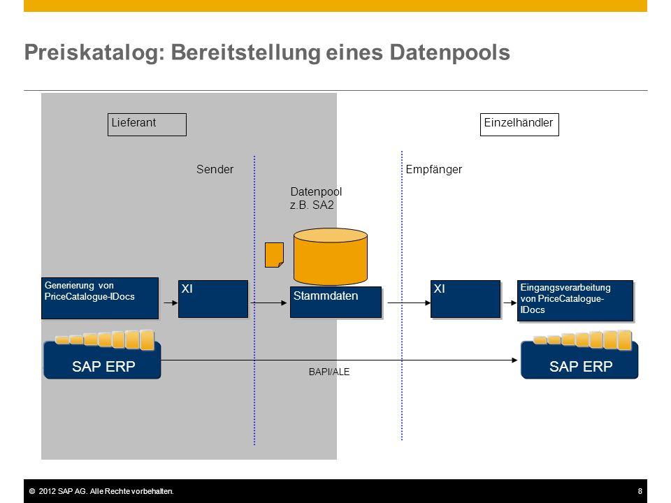 ©2012 SAP AG. Alle Rechte vorbehalten.8 Preiskatalog: Bereitstellung eines Datenpools LieferantEinzelhändler Stammdaten Datenpool z.B. SA2 XI Eingangs