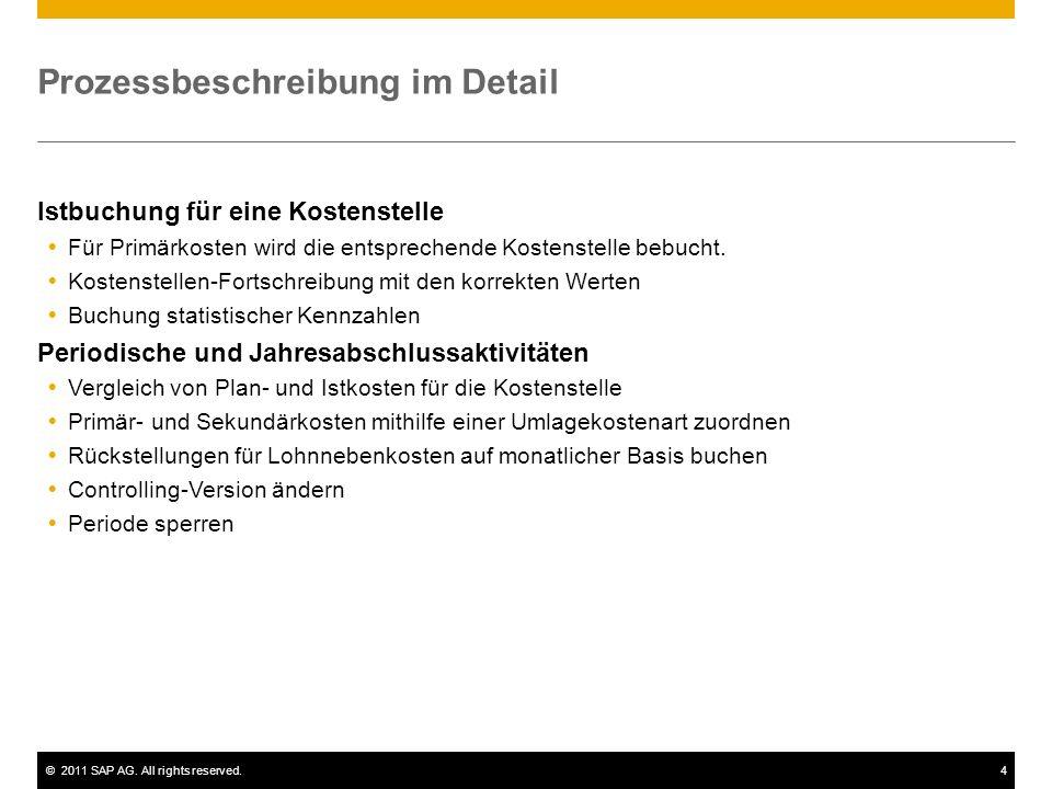 ©2011 SAP AG. All rights reserved.4 Prozessbeschreibung im Detail Istbuchung für eine Kostenstelle Für Primärkosten wird die entsprechende Kostenstell