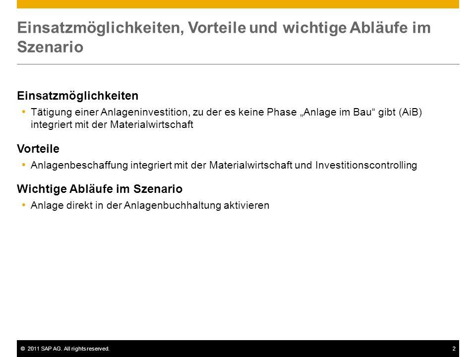 ©2011 SAP AG. All rights reserved.2 Einsatzmöglichkeiten, Vorteile und wichtige Abläufe im Szenario Einsatzmöglichkeiten Tätigung einer Anlageninvesti