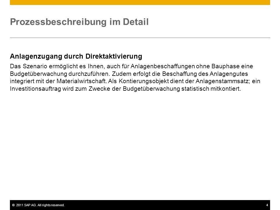 ©2011 SAP AG. All rights reserved.4 Prozessbeschreibung im Detail Anlagenzugang durch Direktaktivierung Das Szenario ermöglicht es Ihnen, auch für Anl