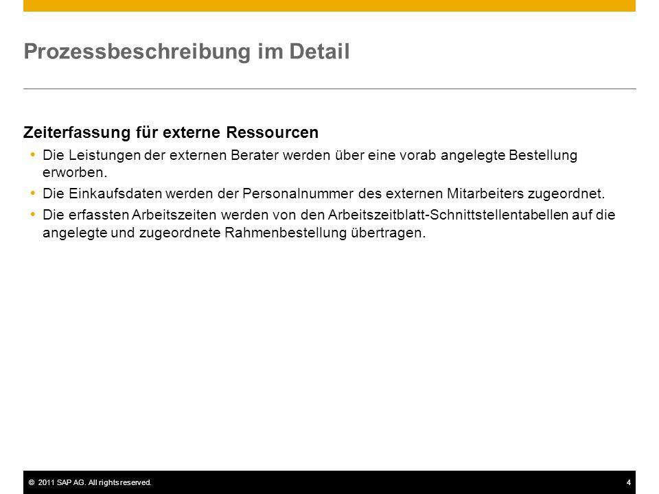 ©2011 SAP AG. All rights reserved.4 Prozessbeschreibung im Detail Zeiterfassung für externe Ressourcen Die Leistungen der externen Berater werden über