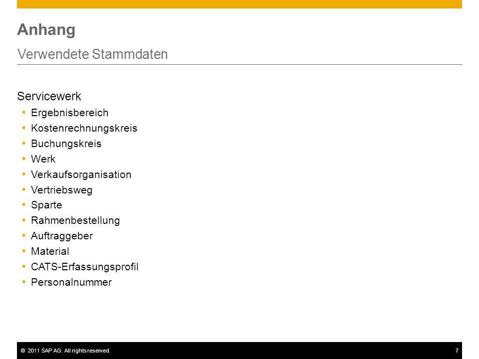 ©2011 SAP AG. All rights reserved.7 Anhang Verwendete Stammdaten Servicewerk Ergebnisbereich Kostenrechnungskreis Buchungskreis Werk Verkaufsorganisat