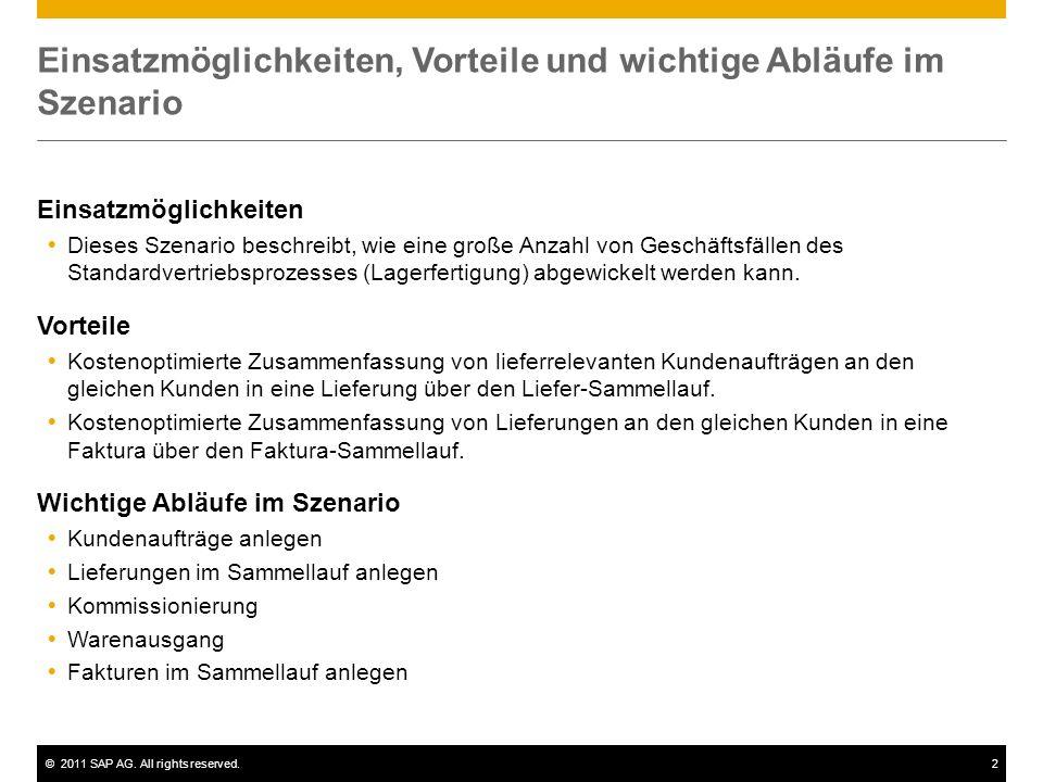 ©2011 SAP AG. All rights reserved.2 Einsatzmöglichkeiten, Vorteile und wichtige Abläufe im Szenario Einsatzmöglichkeiten Dieses Szenario beschreibt, w