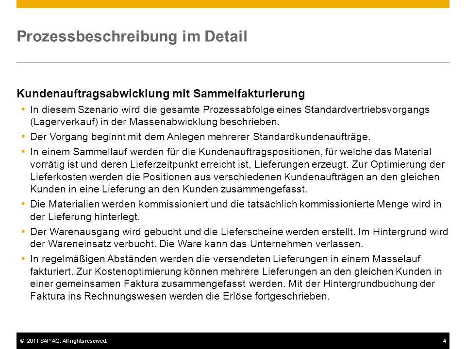 ©2011 SAP AG. All rights reserved.4 Prozessbeschreibung im Detail Kundenauftragsabwicklung mit Sammelfakturierung In diesem Szenario wird die gesamte