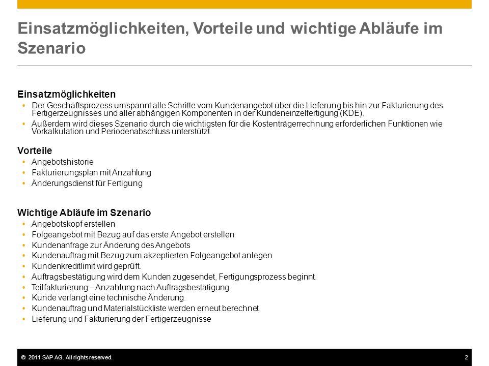 ©2011 SAP AG. All rights reserved.2 Einsatzmöglichkeiten, Vorteile und wichtige Abläufe im Szenario Einsatzmöglichkeiten Der Geschäftsprozess umspannt