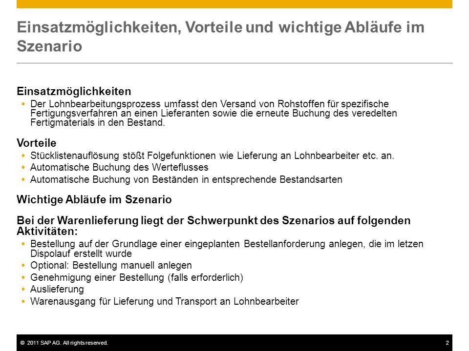 ©2011 SAP AG. All rights reserved.2 Einsatzmöglichkeiten, Vorteile und wichtige Abläufe im Szenario Einsatzmöglichkeiten Der Lohnbearbeitungsprozess u