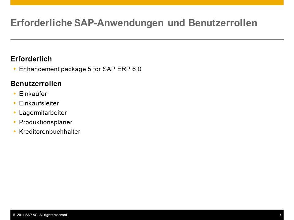 ©2011 SAP AG. All rights reserved.4 Erforderliche SAP-Anwendungen und Benutzerrollen Erforderlich Enhancement package 5 for SAP ERP 6.0 Benutzerrollen