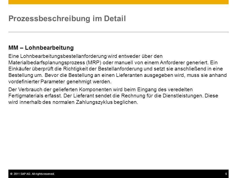 ©2011 SAP AG. All rights reserved.5 Prozessbeschreibung im Detail MM – Lohnbearbeitung Eine Lohnbearbeitungsbestellanforderung wird entweder über den