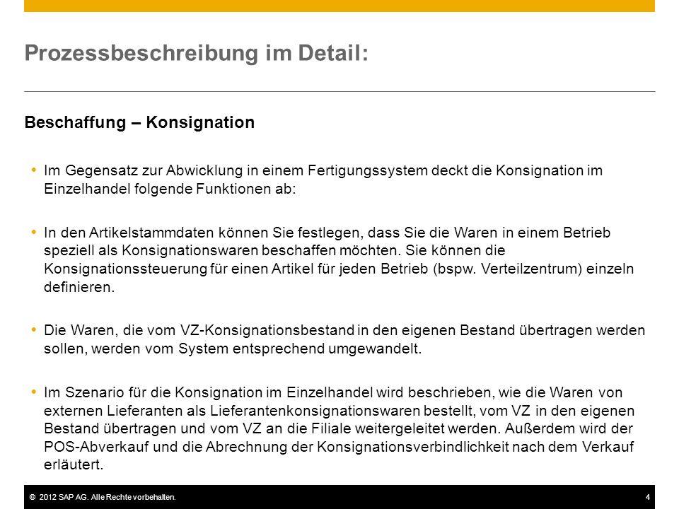 ©2012 SAP AG. Alle Rechte vorbehalten.4 Prozessbeschreibung im Detail: Beschaffung – Konsignation Im Gegensatz zur Abwicklung in einem Fertigungssyste
