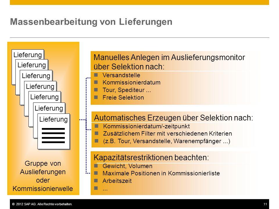 ©2012 SAP AG. Alle Rechte vorbehalten.11 Massenbearbeitung von Lieferungen Manuelles Anlegen im Auslieferungsmonitor über Selektion nach: Versandstell
