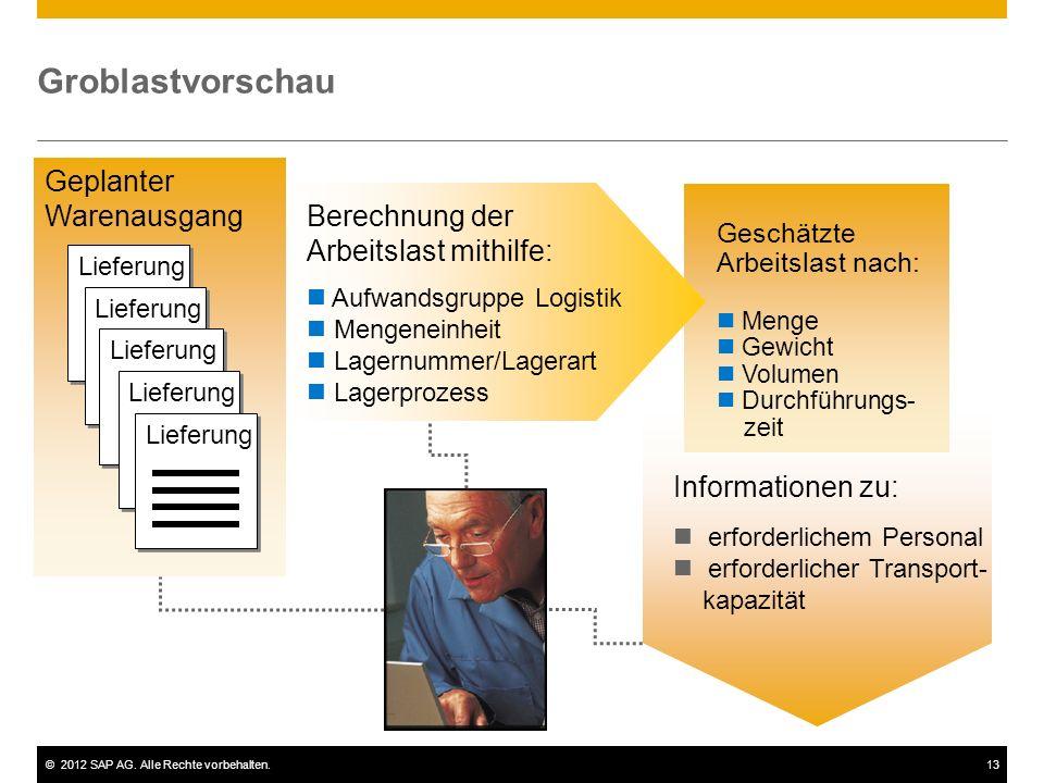 ©2012 SAP AG. Alle Rechte vorbehalten.13 Groblastvorschau Informationen zu: erforderlichem Personal erforderlicher Transport- kapazität Geschätzte Arb