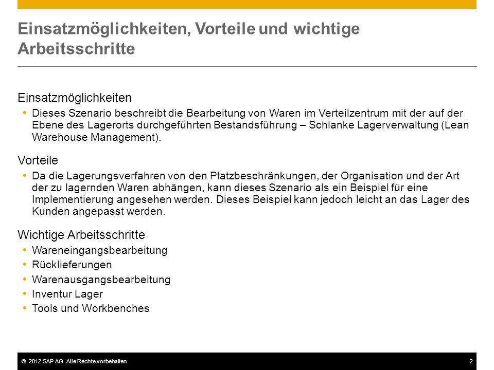 ©2012 SAP AG. Alle Rechte vorbehalten.2 Einsatzmöglichkeiten, Vorteile und wichtige Arbeitsschritte Einsatzmöglichkeiten Dieses Szenario beschreibt di