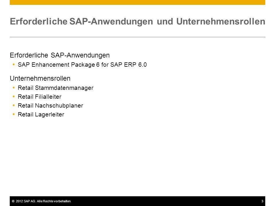 ©2012 SAP AG. Alle Rechte vorbehalten.14 Prozesse – Wareneingang und Rücklieferungen