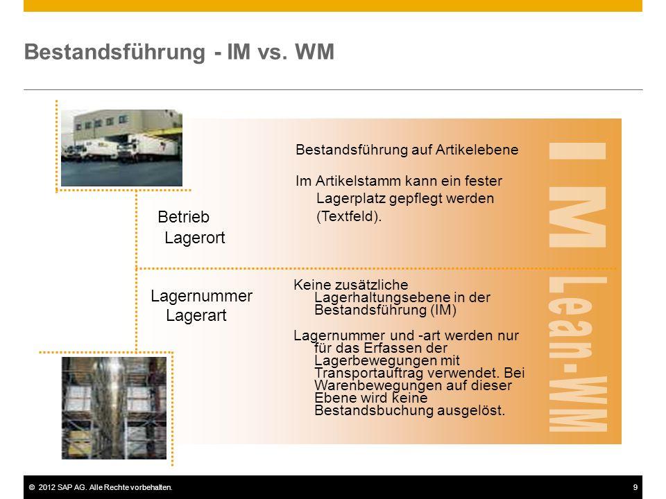 ©2012 SAP AG. Alle Rechte vorbehalten.9 Bestandsführung - IM vs. WM Lagerort Betrieb Bestandsführung auf Artikelebene Im Artikelstamm kann ein fester