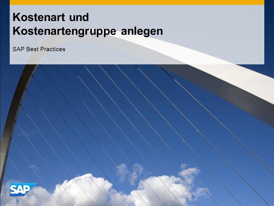 Kostenart und Kostenartengruppe anlegen SAP Best Practices