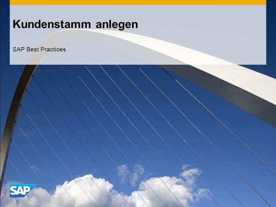 Kundenstamm anlegen SAP Best Practices