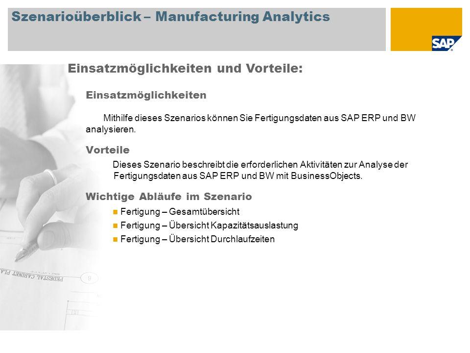 Szenarioüberblick – Manufacturing Analytics Einsatzmöglichkeiten Mithilfe dieses Szenarios können Sie Fertigungsdaten aus SAP ERP und BW analysieren.