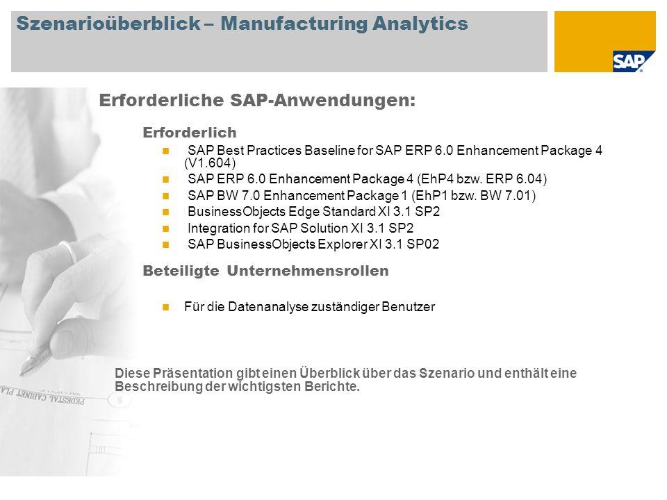 Erforderliche SAP-Anwendungen: Diese Präsentation gibt einen Überblick über das Szenario und enthält eine Beschreibung der wichtigsten Berichte. Szena