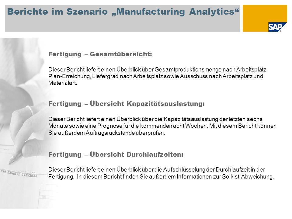 Berichte im Szenario Manufacturing Analytics Fertigung – Gesamtübersicht: Dieser Bericht liefert einen Überblick über Gesamtproduktionsmenge nach Arbe
