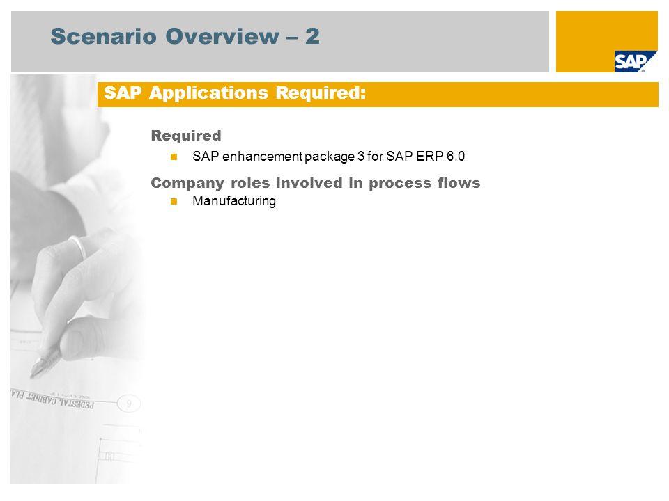 Scenario Overview – 3 Rework Processing (Work-in-Process) This scenario focuses on a rework process within production.