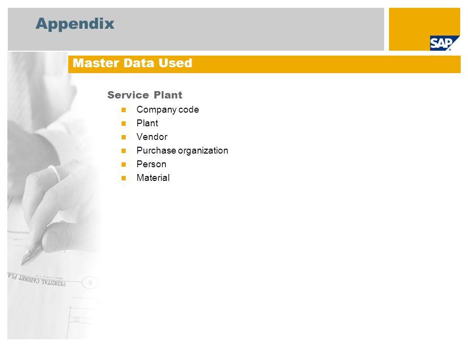 Appendix Service Plant Company code Plant Vendor Purchase organization Person Material Master Data Used
