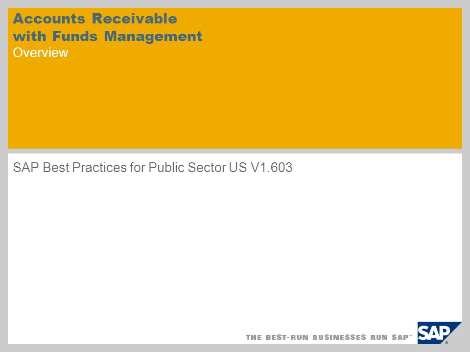 Accounts Receivable with Funds Management Overview SAP Best Practices for Public Sector US V1.603