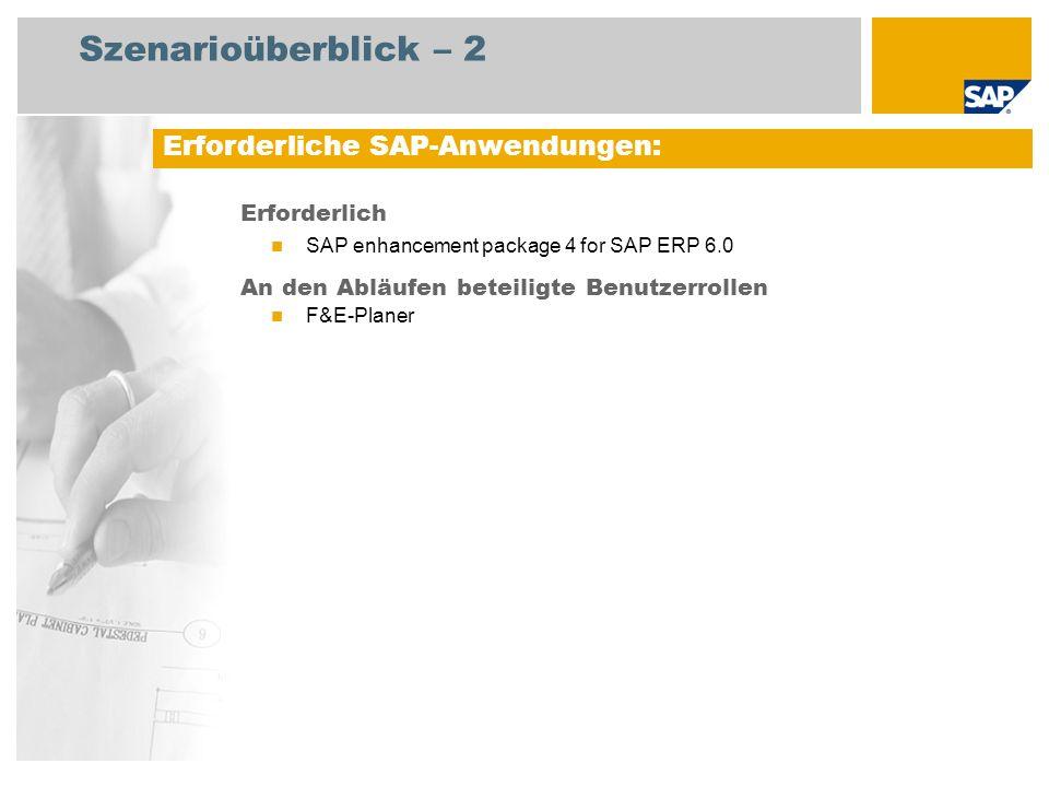 Szenarioüberblick – 2 Erforderlich SAP enhancement package 4 for SAP ERP 6.0 An den Abläufen beteiligte Benutzerrollen F&E-Planer Erforderliche SAP-Anwendungen: