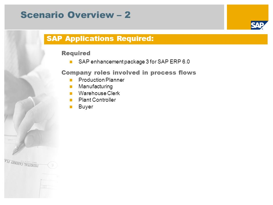 Scenario Overview – 2 Required SAP enhancement package 3 for SAP ERP 6.0 Company roles involved in process flows Production Planner Manufacturing Warehouse Clerk Plant Controller Buyer SAP Applications Required: