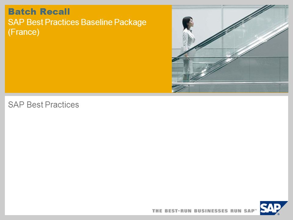 Batch Recall SAP Best Practices Baseline Package (France) SAP Best Practices