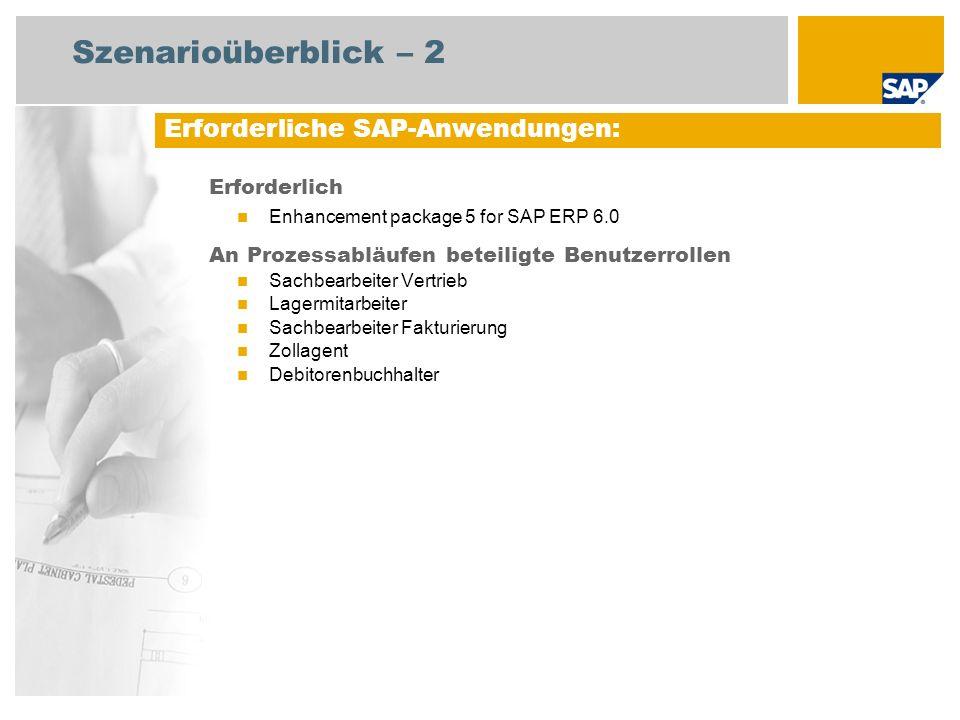 Szenarioüberblick – 2 Erforderlich Enhancement package 5 for SAP ERP 6.0 An Prozessabläufen beteiligte Benutzerrollen Sachbearbeiter Vertrieb Lagermit