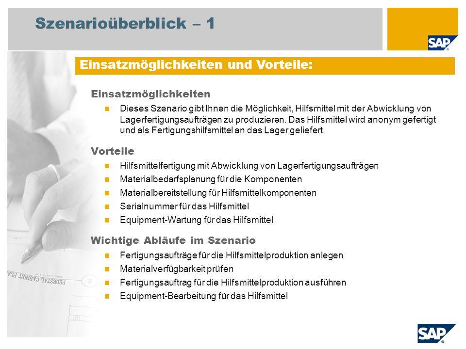 Szenarioüberblick – 2 Erforderlich SAP Enhancement Package 4 für SAP ERP 6.0 An den Abläufen beteiligte Benutzerrollen Produktionsplaner Lagermitarbeiter Mitarbeiter Instandhaltung Fertigungsbereichsspezialist Erforderliche SAP-Anwendungen: