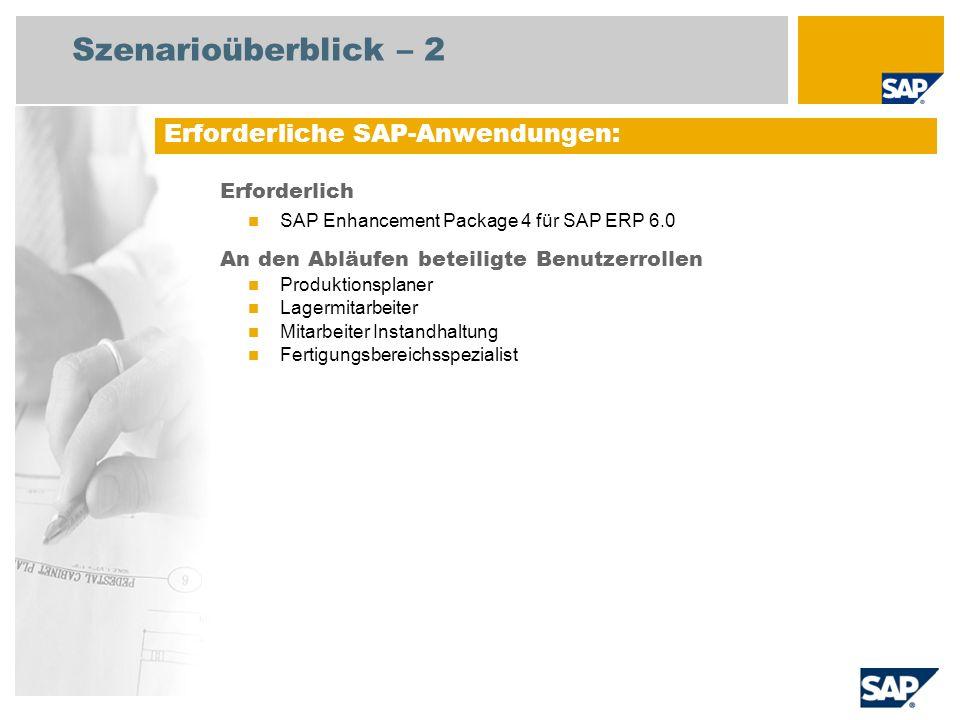 Szenarioüberblick – 2 Erforderlich SAP Enhancement Package 4 für SAP ERP 6.0 An den Abläufen beteiligte Benutzerrollen Produktionsplaner Lagermitarbei