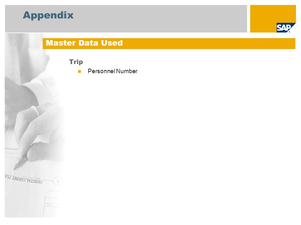 Appendix Trip Personnel Number Master Data Used