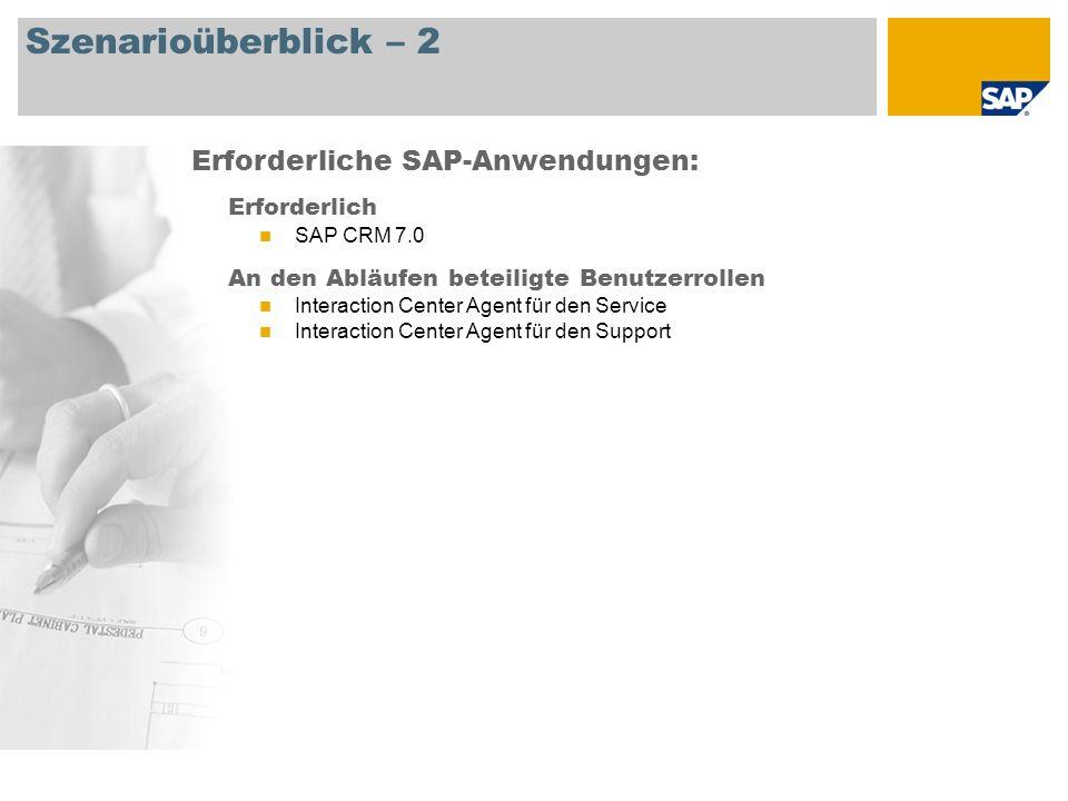 Szenarioüberblick – 2 Erforderlich SAP CRM 7.0 An den Abläufen beteiligte Benutzerrollen Interaction Center Agent für den Service Interaction Center A